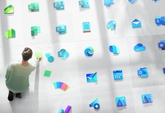 """미국 마이크로소프트가자사의소프트웨어 제품군에 사용되는Windows 로고를 포함, 100개 이상의새로운 아이콘 디자인을 공개했다.    새로운 아이콘 디자인은새로운 디자인 언어 """"Fluent Design System(플루엔트 ..."""