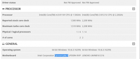 3DMark에 인텔 Core M3 8114Y 캐논레이크-Y 유출 by 아키텍트